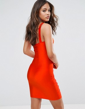 photo One Shoulder Rouched Mini Dress by NaaNaa Tall, color Orange - Image 2