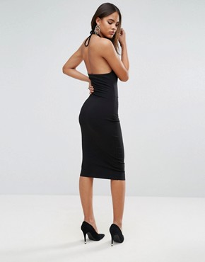 photo Midi Dress with Ring Side Detail by NaaNaa Tall, color Black - Image 2