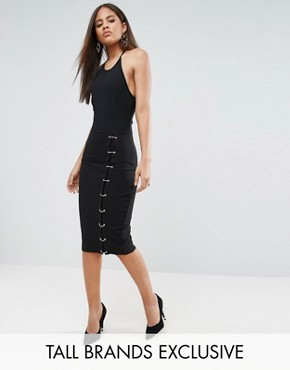photo Midi Dress with Ring Side Detail by NaaNaa Tall, color Black - Image 1