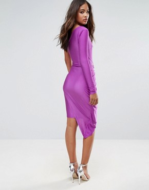 photo One Shoulder Wrap Front Mini Dress by NaaNaa Tall, color Purple - Image 2