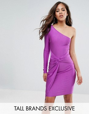 photo One Shoulder Wrap Front Mini Dress by NaaNaa Tall, color Purple - Image 1
