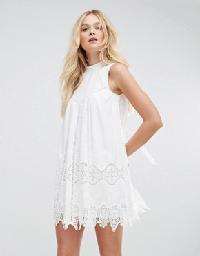 photo Ladder and Lace Swing Dress by ASOS, color White - Image 2