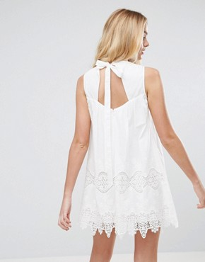 photo Ladder and Lace Swing Dress by ASOS, color White - Image 1