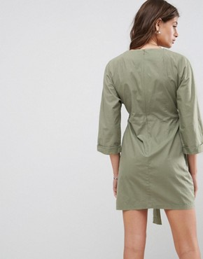photo Casual Tie Waist Mini Dress by ASOS, color Khaki - Image 2