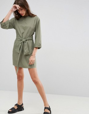 photo Casual Tie Waist Mini Dress by ASOS, color Khaki - Image 1