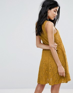 photo Miles Of Lace Skater Dress by Free People, color Gold - Image 2