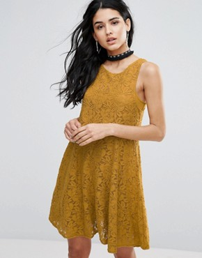 photo Miles Of Lace Skater Dress by Free People, color Gold - Image 1