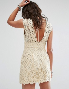 photo One Million Love Lace Baby Doll Dress by Free People, color Ivory - Image 2