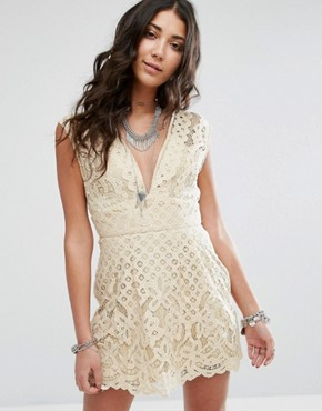photo One Million Love Lace Baby Doll Dress by Free People, color Ivory - Image 1