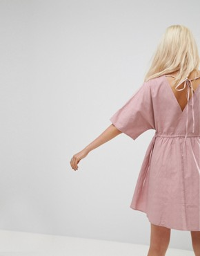 photo V-Front V-Back Smock Dress with Ruched Tie Detail by ASOS, color Pink - Image 2
