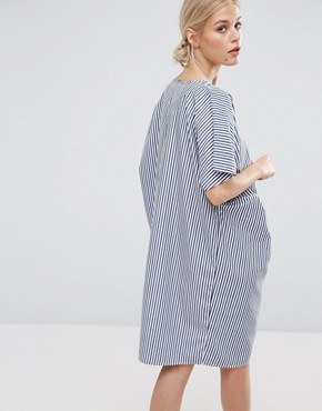 photo Draped Shift Dress in Stripe by ZACRO, color Blue - Image 2