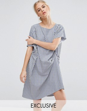 photo Draped Shift Dress in Stripe by ZACRO, color Blue - Image 1