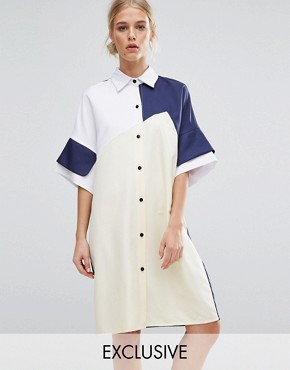 photo Colourblock Shirt Dress by ZACRO, color Multi - Image 1