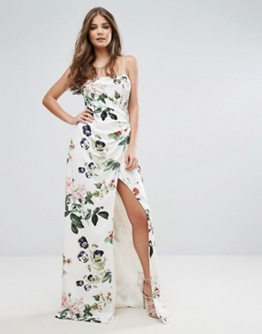 photo Printed Wrap Maxi Dress by Stylestalker, color Floral Print - Image 1