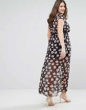 photo Maxi Dress in Floral Print by Club L Plus, color Multi - Image 2
