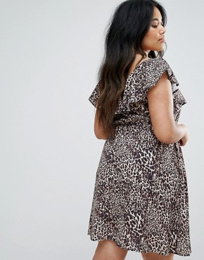 photo Skater Dress with Frill Top in Leopard Print by Club L Plus, color Leopard - Image 2