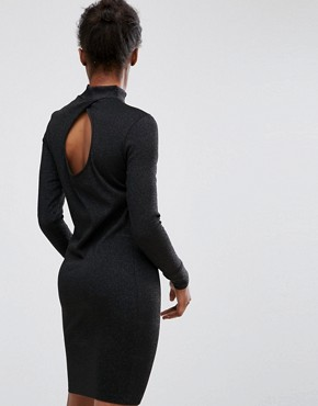 photo High Neck Long Sleeves Dress by mbyM, color Black - Image 2