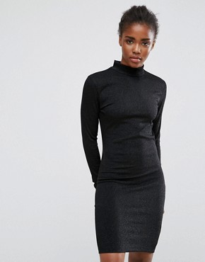 photo High Neck Long Sleeves Dress by mbyM, color Black - Image 1