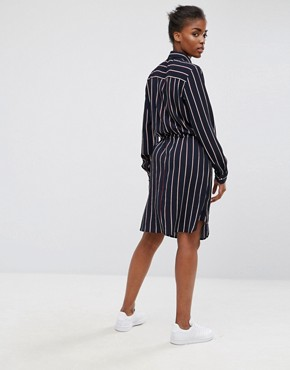 photo Belted Striped Shirt Dress by mbyM, color Darla Print - Image 2