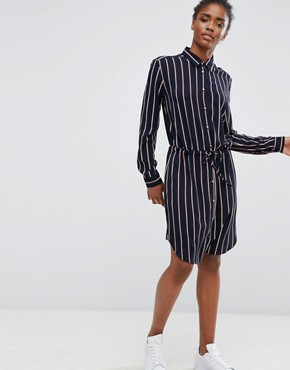 photo Belted Striped Shirt Dress by mbyM, color Darla Print - Image 1