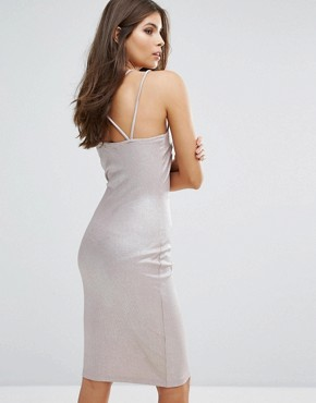 photo Strappy Bodycon Dress by Love, color Beige Foil - Image 2