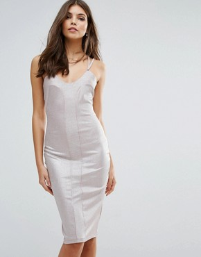 photo Strappy Bodycon Dress by Love, color Beige Foil - Image 1