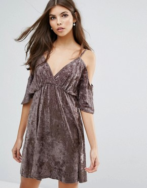 photo Velvet Cold Shoulder Dress by Love, color Mink - Image 1