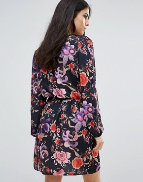 photo Printed Long Sleeve Wrap Dress by Love, color Black Print - Image 2