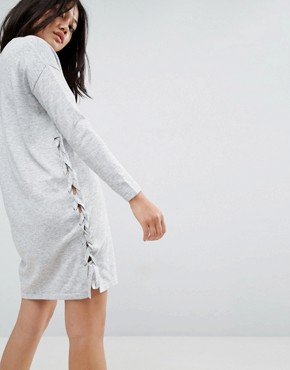 photo Jumper Dress with V-Neck and Lace Up Sides by ASOS, color Grey - Image 2