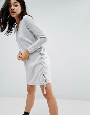 photo Jumper Dress with V-Neck and Lace Up Sides by ASOS, color Grey - Image 1