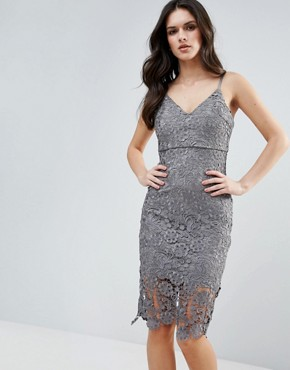 photo Lace Pencil Dress by AX Paris, color Grey - Image 1