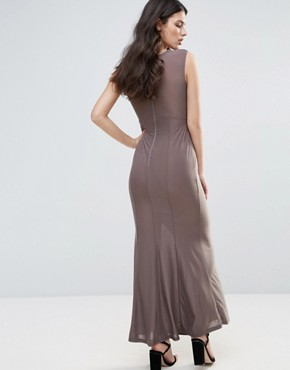photo Slinky Maxi Dress with Ruched Detail by AX Paris, color Grey - Image 2