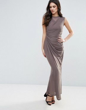 photo Slinky Maxi Dress with Ruched Detail by AX Paris, color Grey - Image 1
