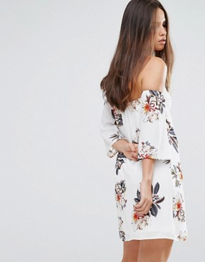 photo Off Shoulder Floral Dress by Parisian, color White - Image 2