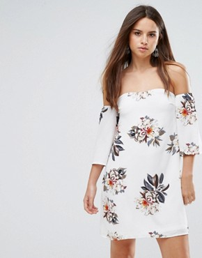 photo Off Shoulder Floral Dress by Parisian, color White - Image 1
