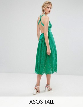 photo Lace Pinny Backless Full Midi Prom Dress by ASOS TALL SALON, color Multi - Image 1