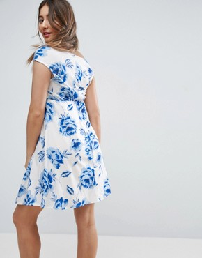 photo Twist Front Bardot Skater Dress in Floral Print by ASOS Maternity, color White Base Floral - Image 2