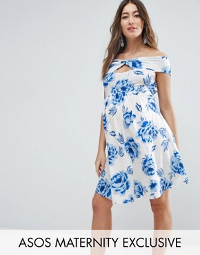 photo Twist Front Bardot Skater Dress in Floral Print by ASOS Maternity, color White Base Floral - Image 1