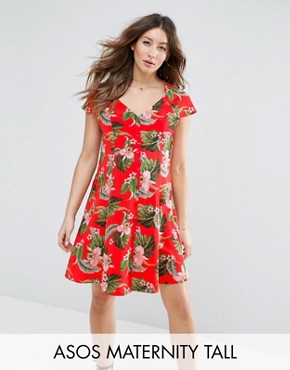 photo Button Through Tea Dress in Tropical Print by ASOS Maternity TALL, color Multi - Image 1