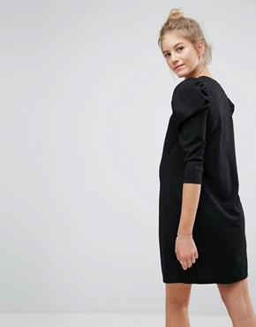 photo Crepe Mini Dress with Puff Sleeves by ASOS Maternity, color Black - Image 2