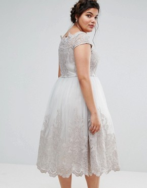 photo Lace Cap Sleeve Dress with Tulle Skirt by Chi Chi London Plus Premium, color Grey - Image 2