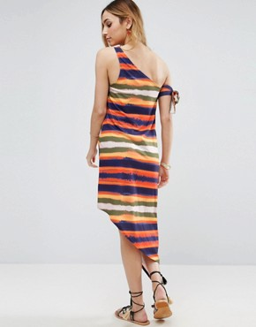 photo Painted Stripe One Shoulder Dress by ASOS Maternity, color Multi - Image 2