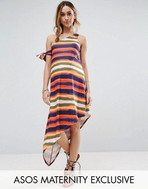 photo Painted Stripe One Shoulder Dress by ASOS Maternity, color Multi - Image 1
