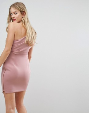 photo One Shoulder Scuba Deep Fold Mini Dress with Exposed Zip by ASOS Maternity, color Mink - Image 2