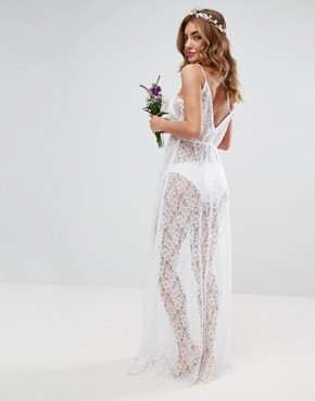 photo Beach Lace Maxi Dress by ASOS BRIDAL, color White - Image 2