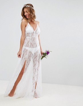 photo Beach Lace Maxi Dress by ASOS BRIDAL, color White - Image 1