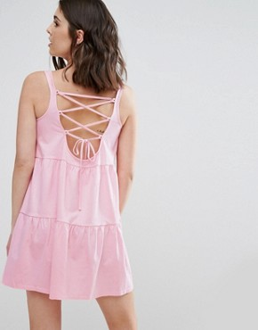 photo Sleeveless Smock Sundress with Lace Up Back by ASOS PETITE, color Pink - Image 2