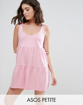 photo Sleeveless Smock Sundress with Lace Up Back by ASOS PETITE, color Pink - Image 1