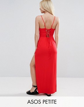 photo Lace Up Back Maxi Dress by ASOS PETITE, color Red - Image 1