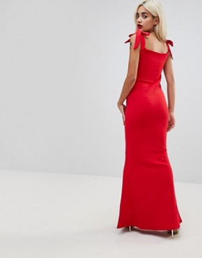photo Plunge Neck Fluted Hem Maxi Dress by Missguided Petite, color Red - Image 2